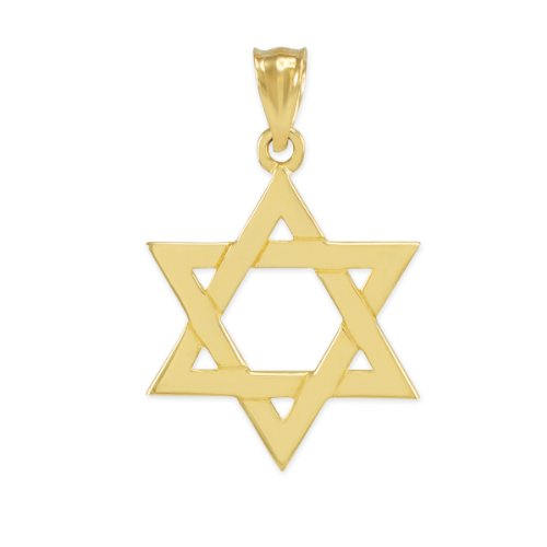 Jewish Gold Pendants - Solid 14k Yellow Gold Traditional Jewish Star of David Charm Pendant (25.4 Millimeters)