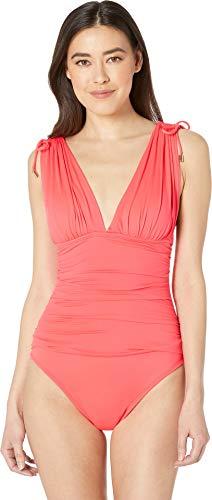 (La Blanca Women's Island Goddess Convertible Tie Strap One Piece Swimsuit, Watermelon, 4)