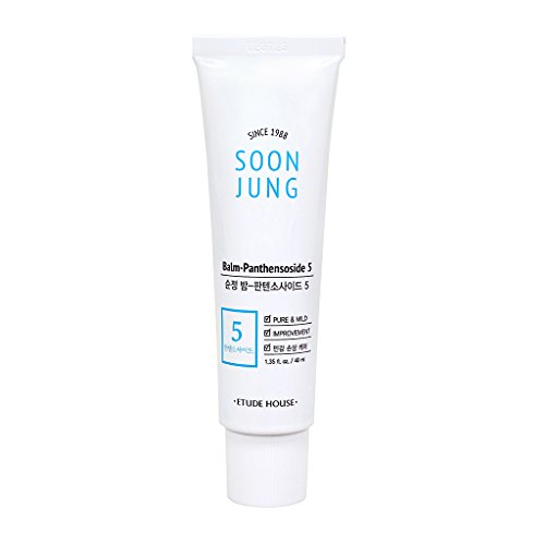 ETUDE HOUSE SoonJung Balm Panthensoside 5 1.4 fl. oz. (40ml) - Hypoallergenic Skin Relaxing & Calming Mild Balm for Sensitive Skin, Panthenol and Madecassoside Heals Damaged & Irritated Skin
