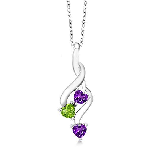 Gem Stone King 0.73 Ct Heart Shape Purple Amethyst Green Peridot 925 Sterling Silver Pendant