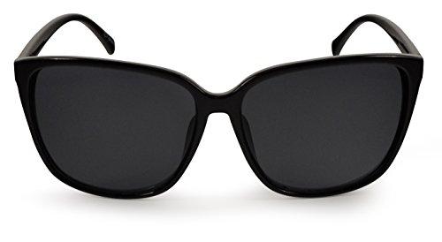 SoMuchSun Oversized Low Nose Bridge Sunglasses (Phoenix 8311) (Black Gloss, Black - Bridge Low Sunglasses