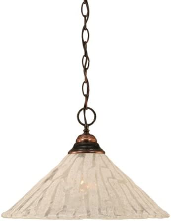 Toltec Lighting 10-BC-719 One-Light Chain Pendant Black Copper Finish with Italian Ice Glass, 16-Inch