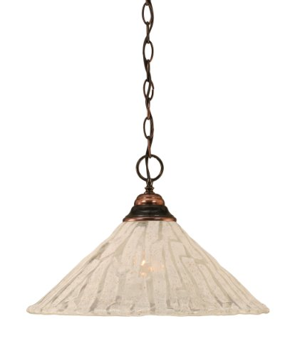Toltec Lighting 10-BC-719 One-Light Chain Pendant Black Copper Finish with Italian Ice Glass, 16-Inch 719 Glasses