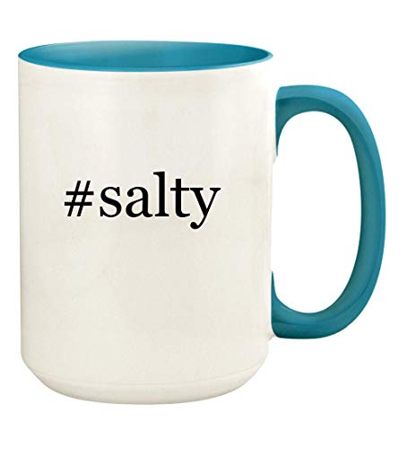 #salty - 15oz Hashtag Ceramic Colored Handle and Inside Coffee Mug Cup, Light Blue -