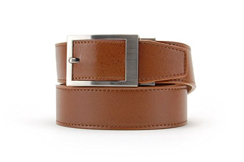 Walnut Classic Leather Dress Belt for Men with Automatic Buckle - Nexbelt Ratchet System Technology
