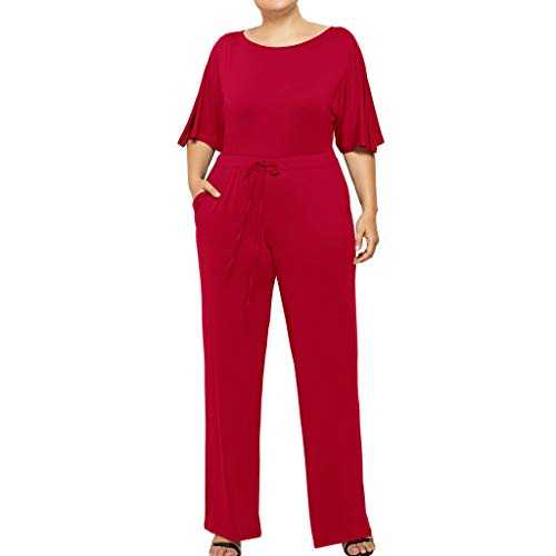 (Solid Plus Size Jumpsuit for Women Short Sleeve Drawstring Waist Long Pants with Pocket (Red, XL))