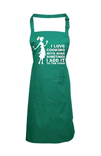 Edward Sinclair Women's I Love Cooking With Wine Sometimes I Add It To The Food With Female Image Apron One Size Bottle Green by Edward Sinclair