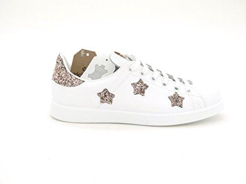 glitter estrellas VICTORIA 125129 rosa blanca Zapatilla n06BX6q1