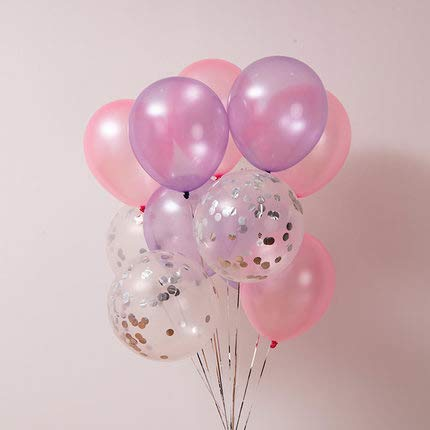 - Pink and Purple Balloons, 40 Pcs 12 Inch Light Pink Balloons Pink Balloons Lavender Balloons Silver Confetti Balloons for Dissney Princess Party Supplies, Pink and Gold Birthday Decorations