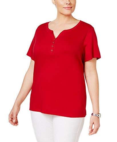 Karen Scott Plus Size Cotton Henley T-Shirt (3X-Large) from Karen Scott