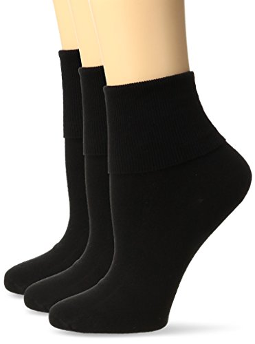 No Nonsense Women's Cotton Basic Cuff Sock 3-Pack, Black, 4-10