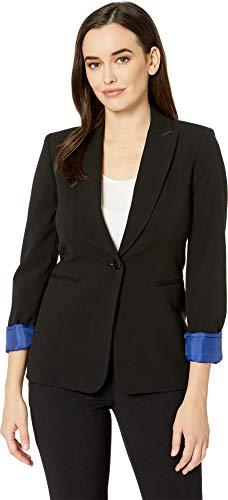 - Tahari by ASL Women's Bistretch One-Button Jacket Black/Cream/Cobalt 8