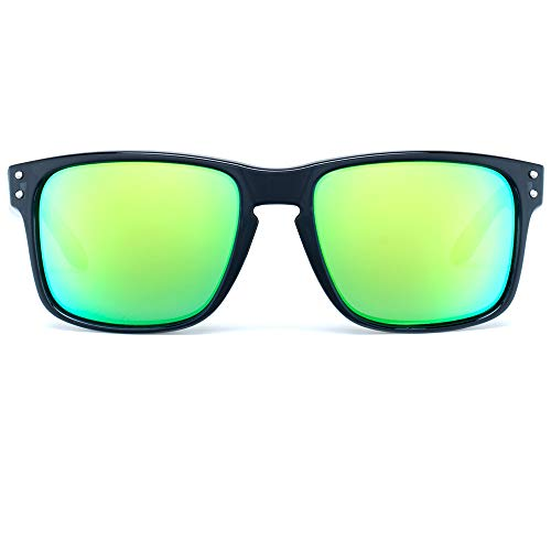 Bnus italy made corning real glass never scratch green mirror coating polarized Lens classic sunglasses for men womens shades (Black/Green Flash Polarized 56MM, Never Scratch Mirror Coating)