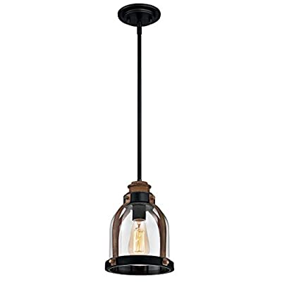 Westinghouse 6356300 One-Light Indoor Mini Pendant, Oil Rubbed Bronze Finish with Barnwood accents and Clear Seeded Glass