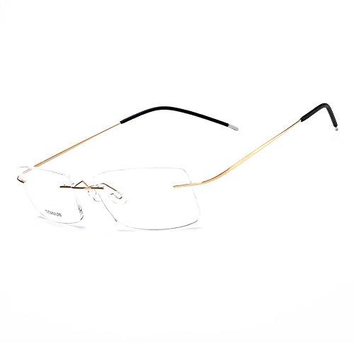 - SUNBRAVE Pure Titanium Rimless Eyeglasses Eyewear Business Optical Frame Men Glasses(Gold)