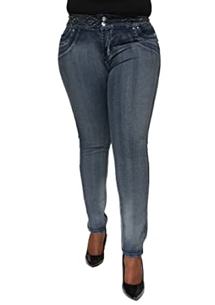 Woman's Plus Size Brazilian Butt Lifting Stretch Skinny Leg Jeans DJ9-F222BLU (22)