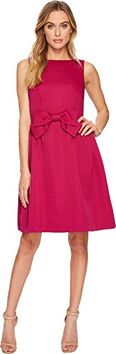 Tahari ASL Women's Sleeveless Fit & Flare Bow Dress Magenta 4 (Asl Sleeveless Dress)