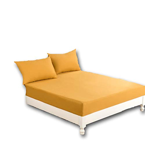 - DaDa Bedding Luxury Fitted Sheet - Dark Elegance Cotton w/Pillow Cases Set - Neutral Solid Warm Mustard Yellow - Cal King - 3-Pieces