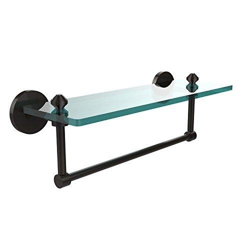 Allied Brass SB-1TB/16-ORB Glass Shelf with Towel Bar, 16-Inch x 5-Inch ()