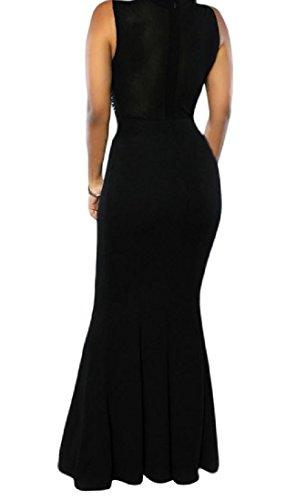 Party Sleeveless Comfy Black Womens Dress Solid Hem Fashion Evening Big qwpw4ZO