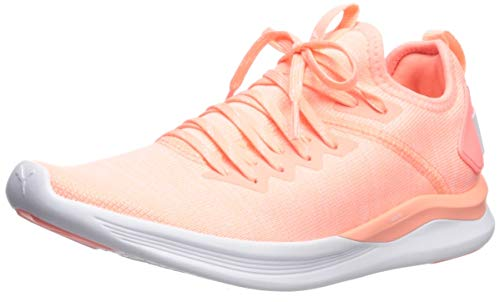 PUMA Women's Ignite Flash Evoknit Sneaker, Bright Peach wh, 6 M - Bright Sneakers