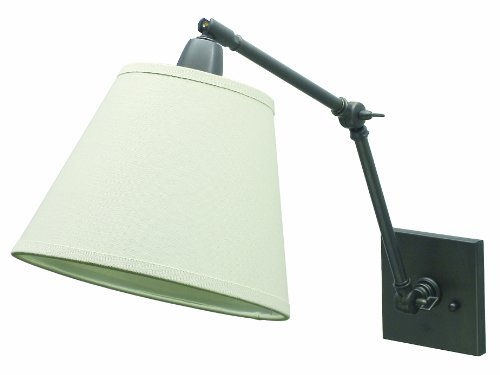 House Of Troy DL20-OB Direct Wire Portable Library Lamp with Off-White Linen HaRoundback, 20