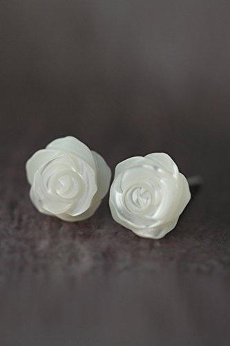 - mrs. Silver Unique Mother Pearl Shell Earrings earings Dangler Eardrop Earrings Rose Silver Stud Women Girls Woman Gift s925