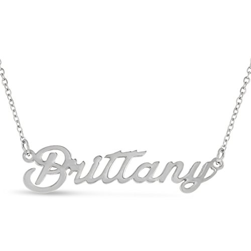 Brittany Nameplate Necklace In Silver Tone