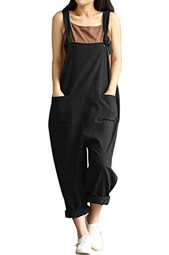 Lncropo Women Large Plus Size Baggy Linen Overalls Casual Wide Leg Pants Sleeveless Rompers Jumpsuit Vintage Haren Overalls (3XL, Black) ()