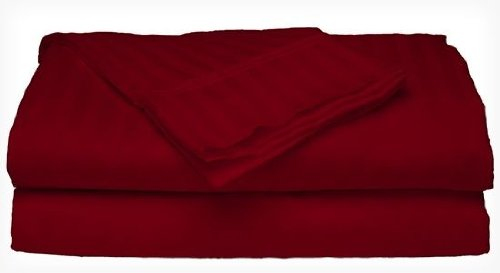 Queen Size 400 Thread Count 100% Cotton Sateen Dobby Stripe Sheet Set -Burgundy