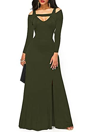 ONLYSHE Women Fashion Off Shoulder Split Long Sleeve Cotton Maxi Beach Dress Army Green Small
