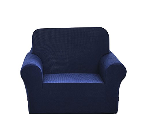 Chelzen Stretch Sofa Covers 1-Piece Polyester Spandex Fabric Living Room Couch Slipcovers (Chair, Navy (Fabric Living Room Loveseat)