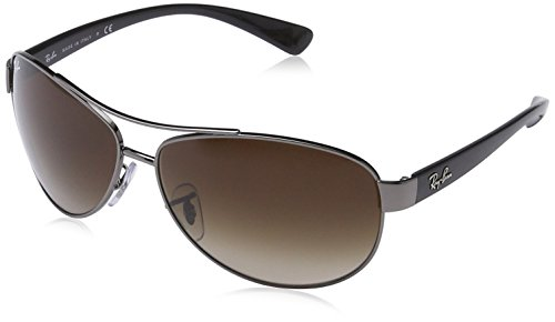 Ray-Ban RB3386 Aviator Sunglasses, Gunmetal/Brown Gradient, 63 mm
