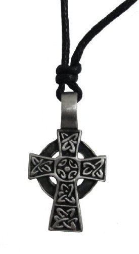 Valentine's Day Gift Mens Celtic Cross Necklace Pewter from Ireland ()