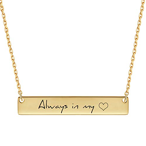 MeMoShe Personalized Bar Necklace, 18K Gold Plated Custom Name Engravable Necklace with Adjustable Chain Charm Gift for Bridesmaid