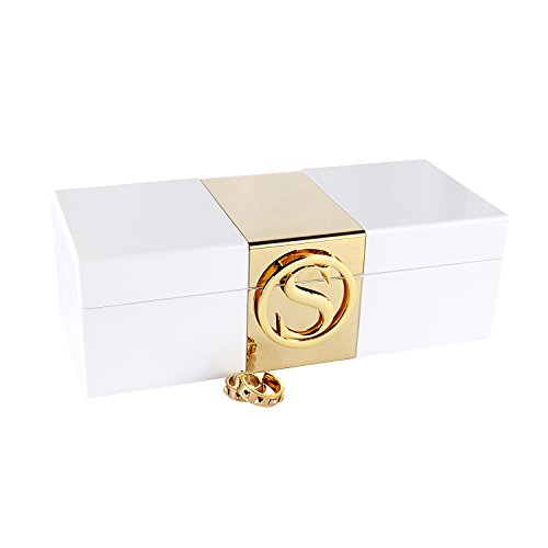 A Comely Lacquer Initial Personalised Jewelry Box Monogram High Gloss Wooden Accessories Storage Organizer Case (White, S)