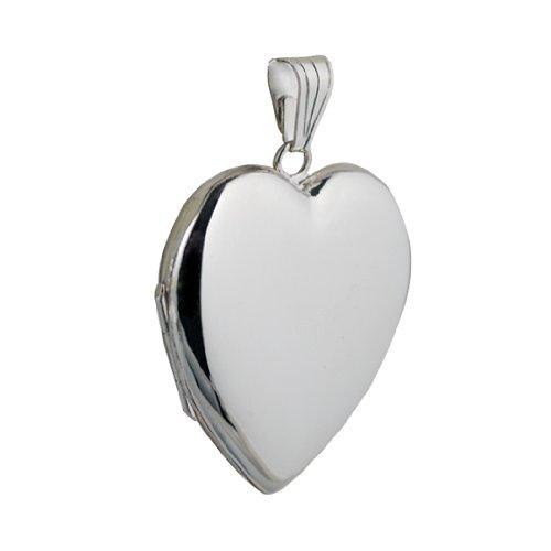 Médaillon à loquet en argent en forme de coeur, de 30x28mm fait main.