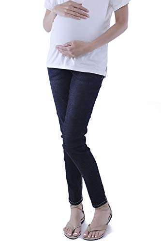 WuhouPro Womens Super Stretch Adjustable Maternity Jeans,Full Length-black,XX-Large