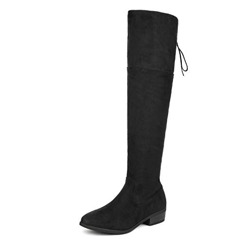 0b02007b22b0 DREAM PAIRS Women s LEI Black Over The Knee High Low Block Heel Riding Boots  Size 9 B(M) US