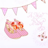 DP270. 36 Baby Girl Birth Announcement Cards and Envelopes