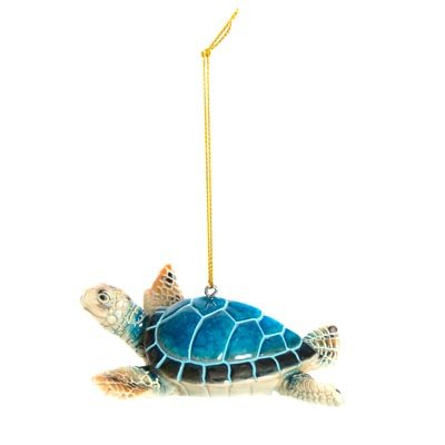 Sprinkles Gifts Christmas Tree Ornament Polystone Blue Sea Turtle Shiny Enamel Finish Ocean Sea Beach Theme Life Ornaments -