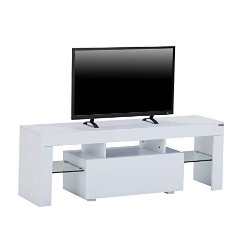 WALCUT High Gloss White LED TV Stand Media Console Cabinet LED Shelves with Drawers for Living Room Storage for 51