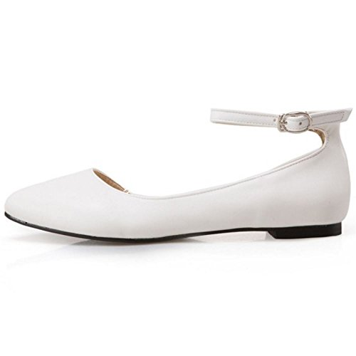 Casual Ballet Buckle Ankle Shoes Strap TAOFFEN Women White Sandals D'Orsay S5BwxBq1nF