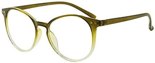Original Classic Round Vintage Prescription Magnification Reader Eye Glasses Rx Power Strength +150 +175 +200 +2.25 +250 +300 (Olive Green, 2.75)