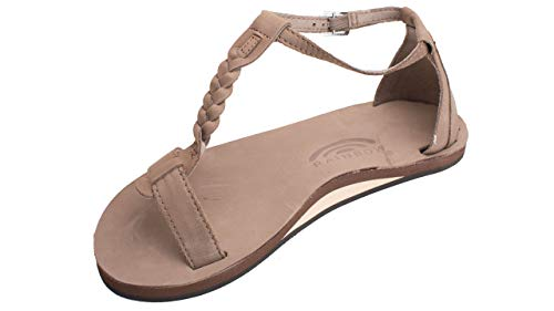 Rainbow Sandals Calafia - Single Layer Leather Dark Brown Sandal with Back Buckle Heel 6 B(M) US ()