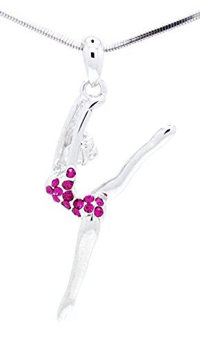 - GYMNAST LEG UP NECKLACE - DANCER CRYSTAL GYMNAST NECKLACE - HOT PINK ()