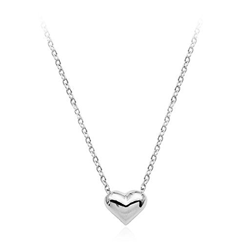 Initial 18k White Gold Pendant (Heart Necklace Minimalist Rose Gold Simple Personalized Initial Jewelry Small Dainty Heart Pendant Charm Necklace for Women (White gold))