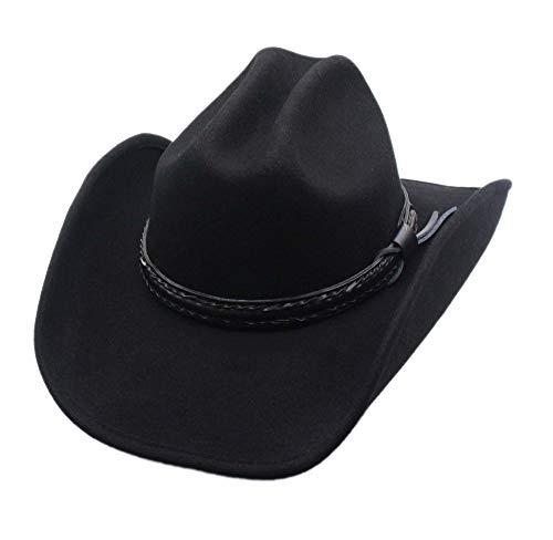 Men's Wool Cowboy Hat Laramie Black Shapeable Western Felt Hats by Silver Canyon - Leather Wool Cowboy Hat