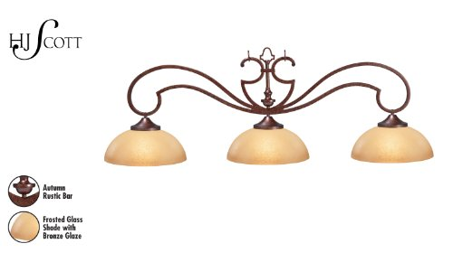 HJ Scott Decorator Traditional Billiard Table Light with Autumn Rustic Bar and 3 Bronze Glazed Scavo Glass Shades, 20 x 56-Inch