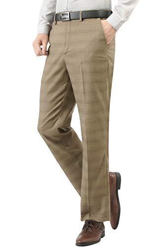 Plaid Wool Pants - Hanayome Mens Slim Fit 4-Pocket Brown Plaid Pants 2017 Fashion Suit Separate Dress, Brown, 29W x 30L
